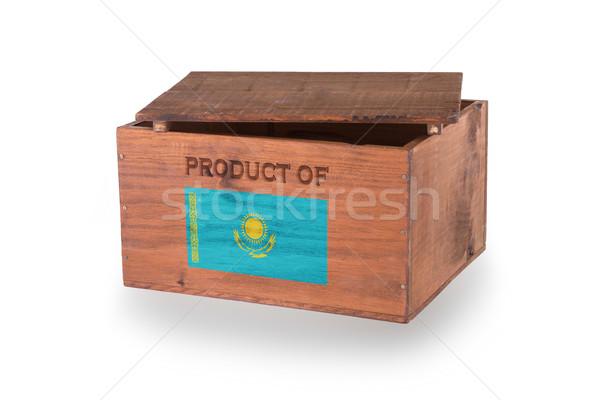 Stock fotó: Fából · készült · láda · izolált · fehér · termék · Kazahsztán