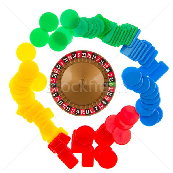 Utilizado rueda de la ruleta pelota edad juego chips Foto stock © michaklootwijk