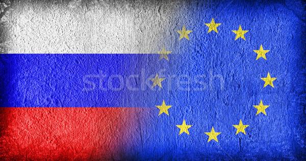 Rusia ue banderas pintado agrietado concretas Foto stock © michaklootwijk