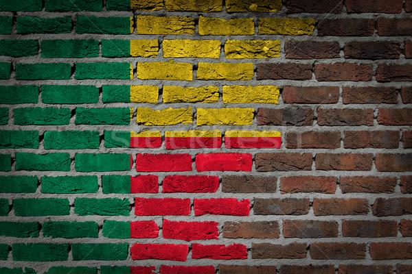 Buio muro di mattoni Benin texture bandiera verniciato Foto d'archivio © michaklootwijk