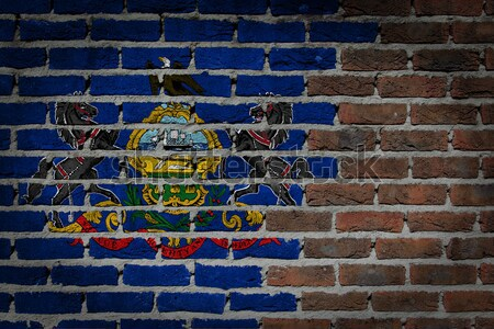 Sötét téglafal jogok Pennsylvania textúra zászló Stock fotó © michaklootwijk