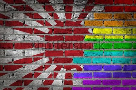 темно кирпичная стена правые Мьянма текстуры флаг Сток-фото © michaklootwijk