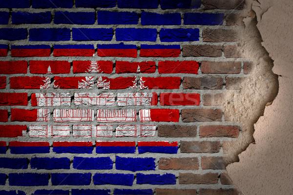 暗い レンガの壁 石膏 カンボジア テクスチャ フラグ ストックフォト © michaklootwijk