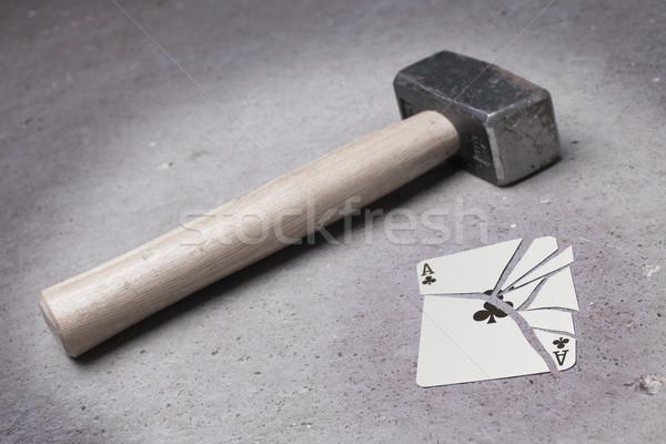 Kalapács törött kártya ász klasszikus néz Stock fotó © michaklootwijk