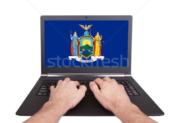 Hands working on laptop, New York Stock photo © michaklootwijk