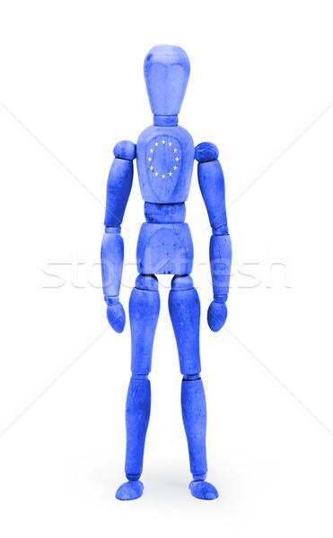 Wood figure mannequin with flag bodypaint - European Union Stock photo © michaklootwijk