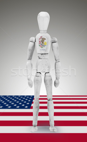 Wood figure mannequin with US state flag bodypaint - Illinois Stock photo © michaklootwijk