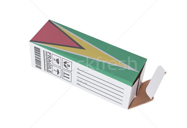 Export termék Guyana kinyitott papír doboz Stock fotó © michaklootwijk