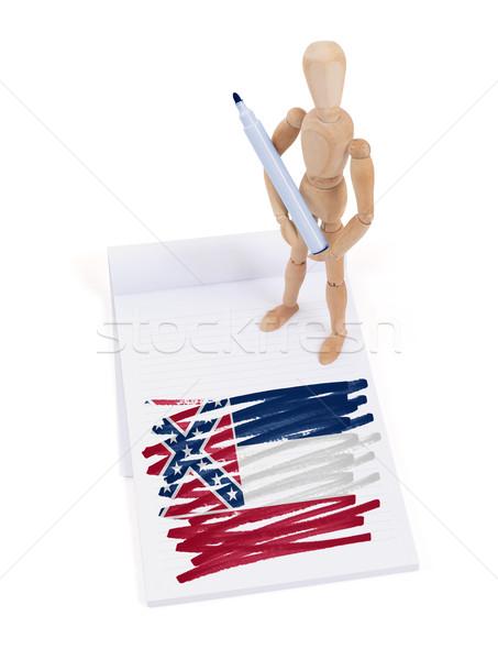 Ahşap manken çizim Mississipi bayrak vücut Stok fotoğraf © michaklootwijk