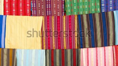 Seta display fabbrica Vietnam ragazza texture Foto d'archivio © michaklootwijk