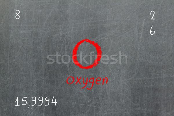 Izolált iskolatábla periódusos rendszer oxigén kémia iskola Stock fotó © michaklootwijk