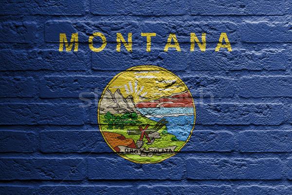 Muro di mattoni pittura bandiera Montana isolato vernice Foto d'archivio © michaklootwijk