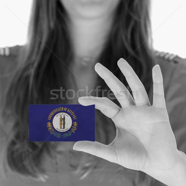 Kadın kartvizit siyah beyaz Kentucky uzay Stok fotoğraf © michaklootwijk