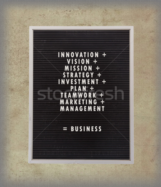 Business concept in plastic letters on very old menu board Stock photo © michaklootwijk