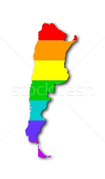 Szivárvány zászló minta Argentína térkép homoszexuális Stock fotó © michaklootwijk