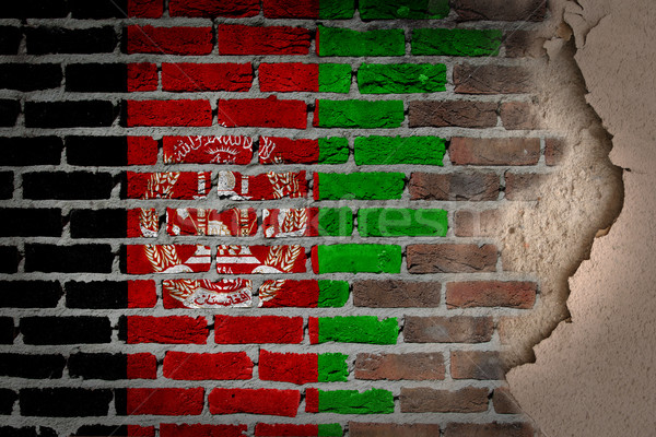 темно кирпичная стена штукатурка Афганистан текстуры флаг Сток-фото © michaklootwijk