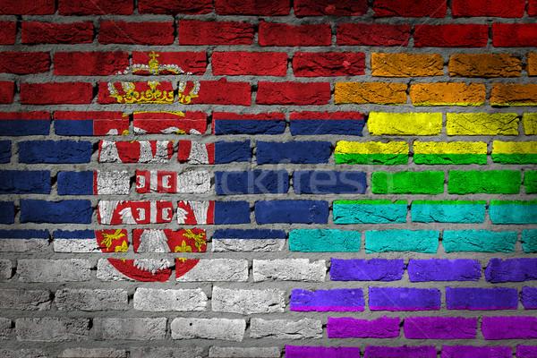 Escuro parede de tijolos direitos Sérvia textura bandeira Foto stock © michaklootwijk