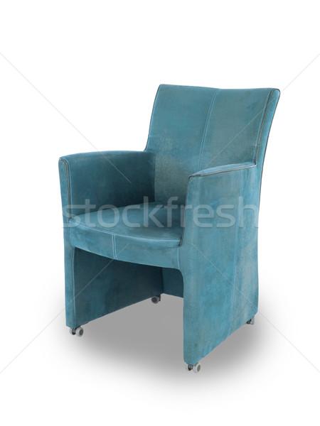 Bleu cuir salle à manger président isolé blanche Photo stock © michaklootwijk