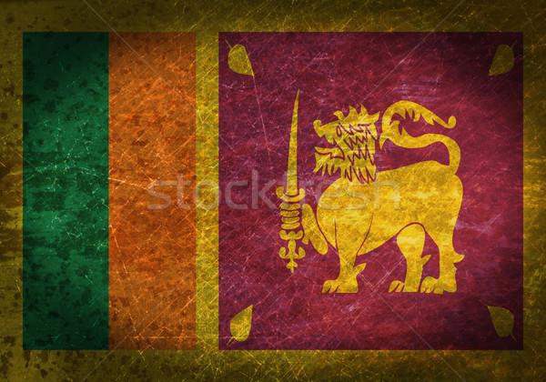 Oude roestige metaal teken vlag Sri Lanka Stockfoto © michaklootwijk