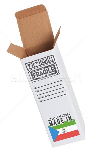 Foto stock: Exportar · produto · Guiné · Equatorial · papel · caixa