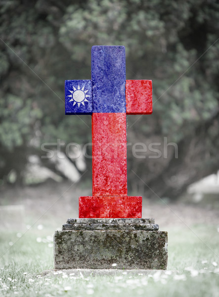 Mezar taşı mezarlık Tayvan eski yıpranmış bayrak Stok fotoğraf © michaklootwijk