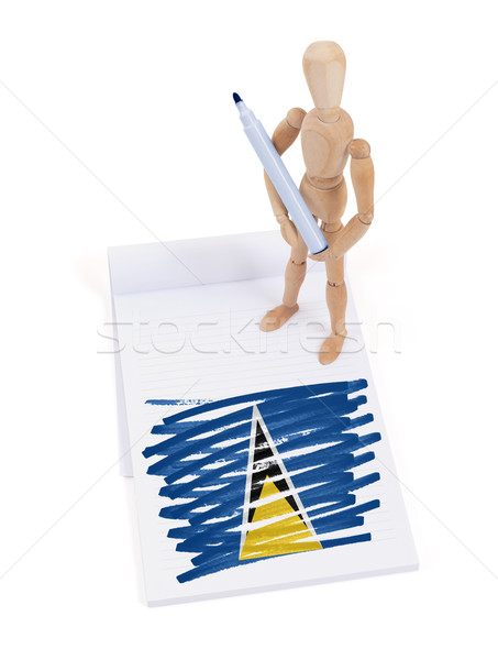 Wooden mannequin made a drawing - Saint Lucia Stock photo © michaklootwijk