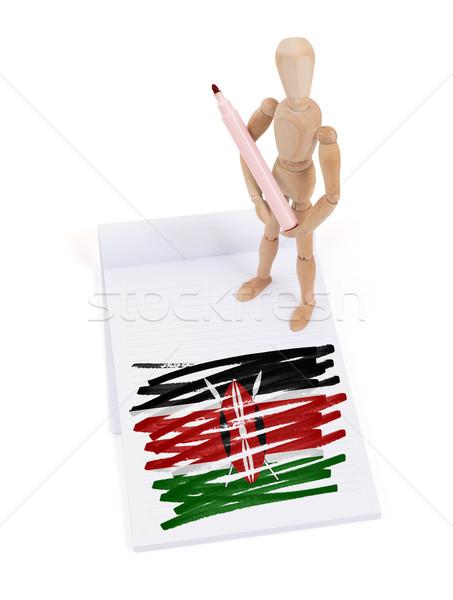 Ahşap manken çizim Kenya bayrak kâğıt Stok fotoğraf © michaklootwijk