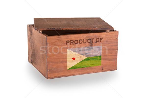 Stock fotó: Fából · készült · láda · izolált · fehér · termék · Dzsibuti