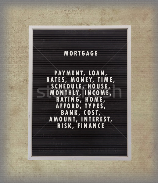 Mortgage concept in plastic letters on very old menu board Stock photo © michaklootwijk