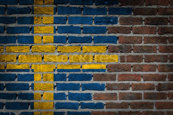 Ciemne murem Szwecja tekstury banderą malowany Zdjęcia stock © michaklootwijk