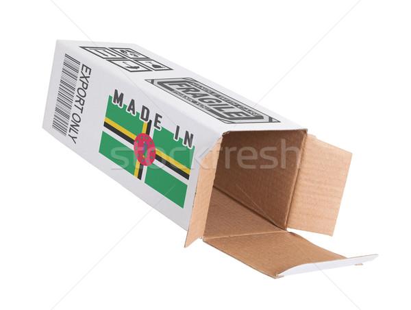 Export termék Dominika kinyitott papír doboz Stock fotó © michaklootwijk