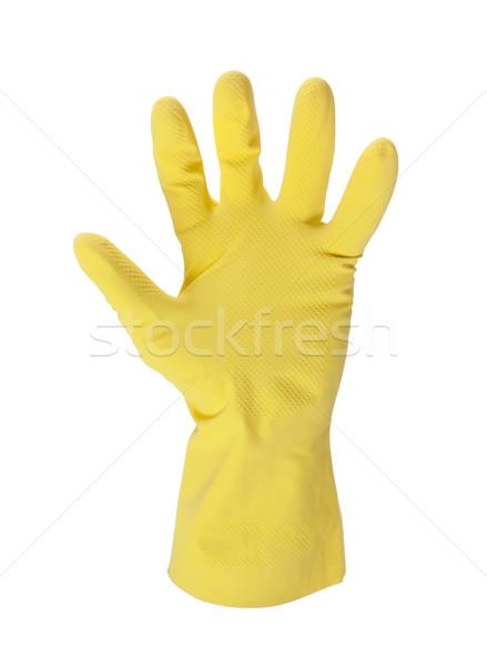 Lateks rękawica czyszczenia strony odizolowany biały Zdjęcia stock © michaklootwijk