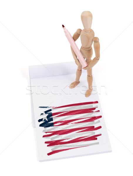 Manequim desenho Libéria bandeira papel Foto stock © michaklootwijk