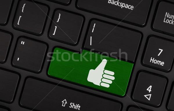 Tak zielone kluczowych kciuk w górę Zdjęcia stock © michaklootwijk