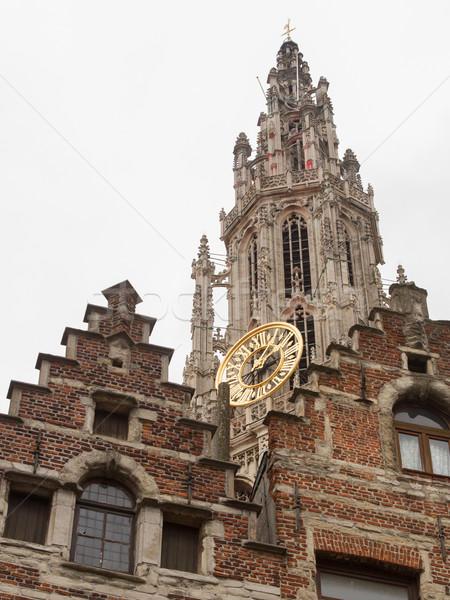 Kathedraal dame België klok reizen architectuur Stockfoto © michaklootwijk