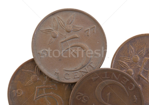Old 5 euro cent coins, isolated, selective focus Stock photo © michaklootwijk