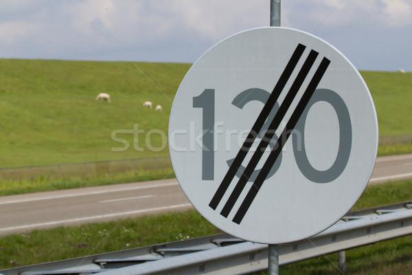 Yol işareti son hız limiti yol doğa arka plan Stok fotoğraf © michaklootwijk