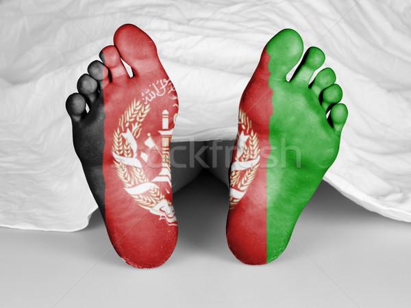 Lijk witte vel vlag Afghanistan vrouw Stockfoto © michaklootwijk