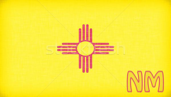 Vászon zászló Új-Mexikó rövidítés szövet piros Stock fotó © michaklootwijk
