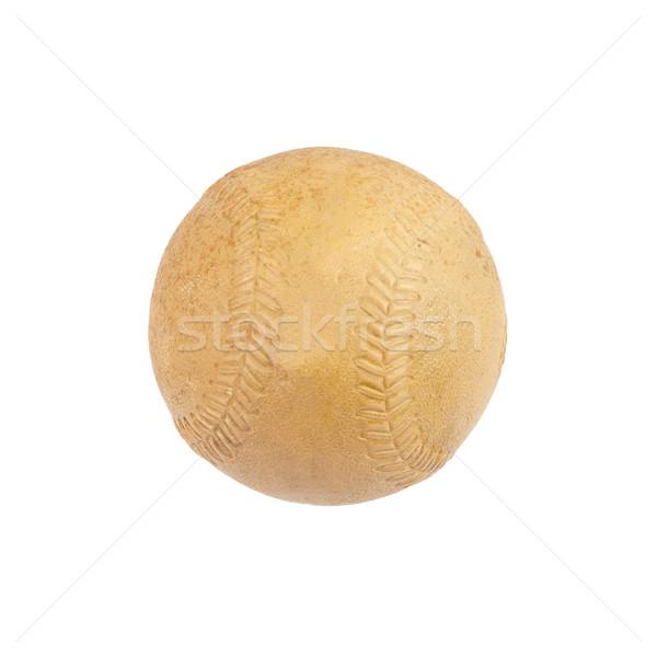 Oude softbal geïsoleerd witte Stockfoto © michaklootwijk