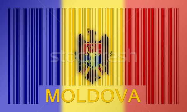 Vonalkód zászló Moldova festett felület terv Stock fotó © michaklootwijk
