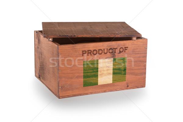 Stock fotó: Fából · készült · láda · izolált · fehér · termék · Nigéria