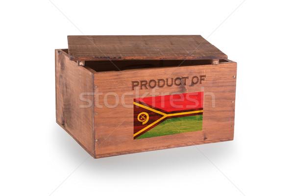 Stock fotó: Fából · készült · láda · izolált · fehér · termék · Vanuatu