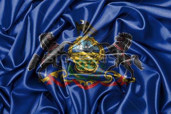 Satijn vlag geven Pennsylvania achtergrond Stockfoto © michaklootwijk