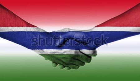 Homem mulher aperto de mãos bandeira padrão Gâmbia Foto stock © michaklootwijk