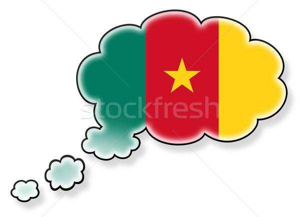 Bayrak bulut yalıtılmış beyaz Kamerun sanat Stok fotoğraf © michaklootwijk