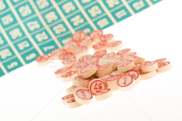 Houten nummers gebruikt bingo toevallig keuze Stockfoto © michaklootwijk