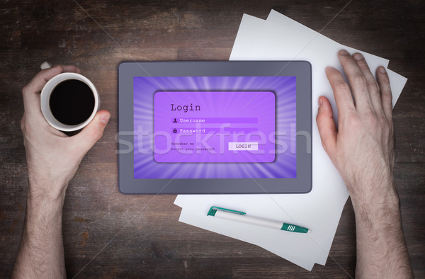 Login interface comprimido nome de usuário senha roxo Foto stock © michaklootwijk