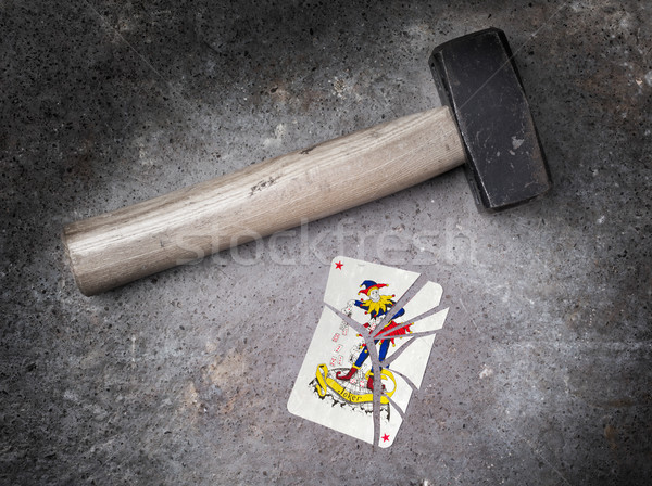 Hammer with a broken card, joker Stock photo © michaklootwijk