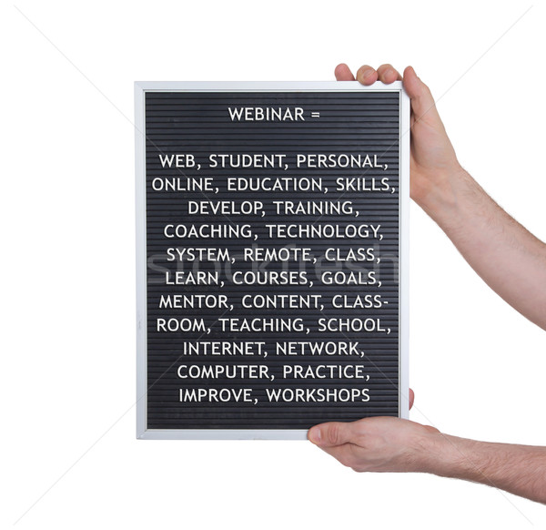 Stock photo: Webinar concept in plastic letters on very old menu board